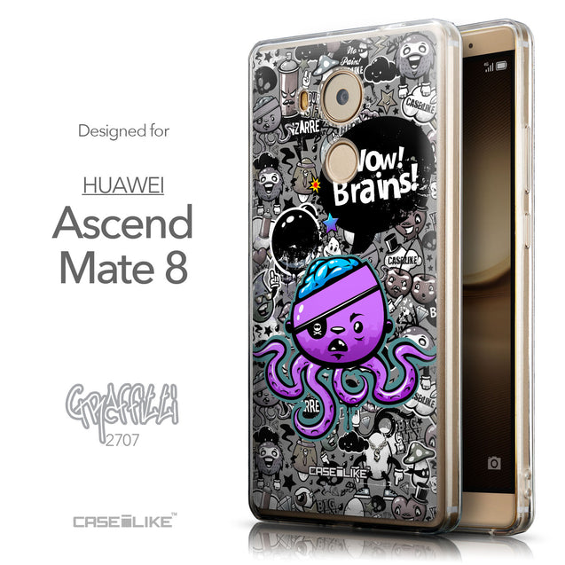 Front & Side View - CASEiLIKE Huawei Mate 8 back cover Graffiti 2707