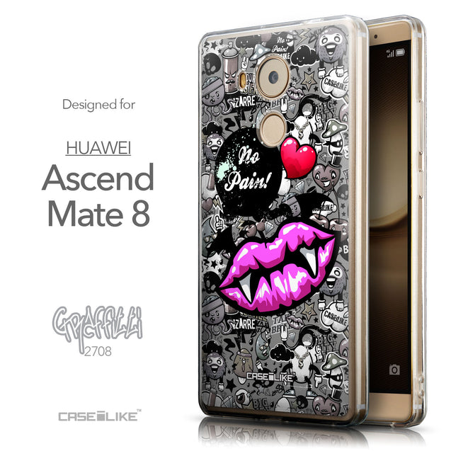 Front & Side View - CASEiLIKE Huawei Mate 8 back cover Graffiti 2708