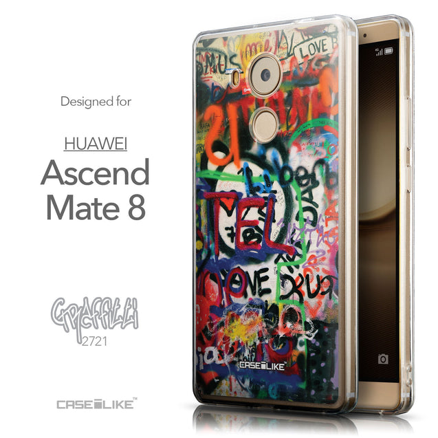 Front & Side View - CASEiLIKE Huawei Mate 8 back cover Graffiti 2721