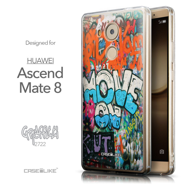 Front & Side View - CASEiLIKE Huawei Mate 8 back cover Graffiti 2722