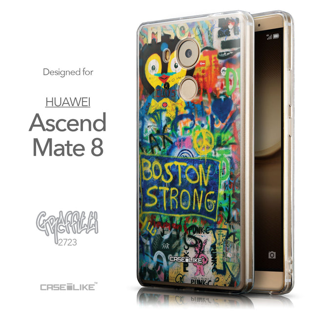 Front & Side View - CASEiLIKE Huawei Mate 8 back cover Graffiti 2723