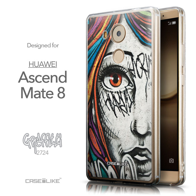 Front & Side View - CASEiLIKE Huawei Mate 8 back cover Graffiti Girl 2724