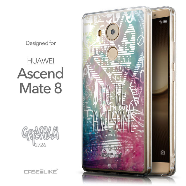 Front & Side View - CASEiLIKE Huawei Mate 8 back cover Graffiti 2726