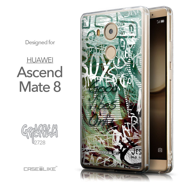 Front & Side View - CASEiLIKE Huawei Mate 8 back cover Graffiti 2728