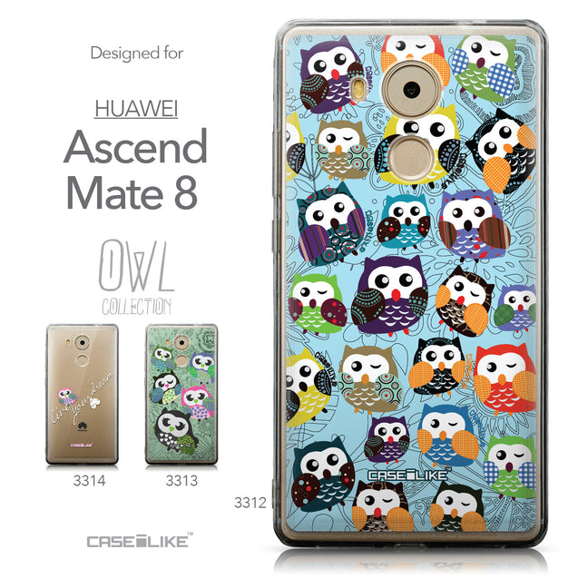 Collection - CASEiLIKE Huawei Mate 8 back cover Owl Graphic Design 3312