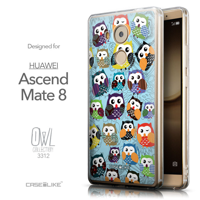 Front & Side View - CASEiLIKE Huawei Mate 8 back cover Owl Graphic Design 3312