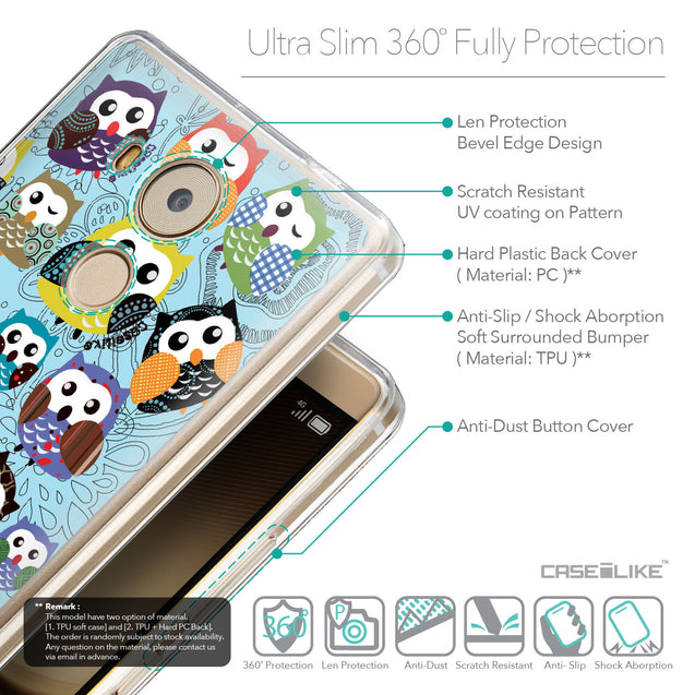 Details in English - CASEiLIKE Huawei Mate 8 back cover Owl Graphic Design 3312