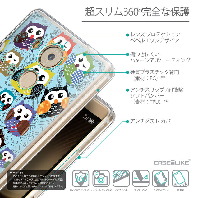 Details in Japanese - CASEiLIKE Huawei Mate 8 back cover Owl Graphic Design 3312