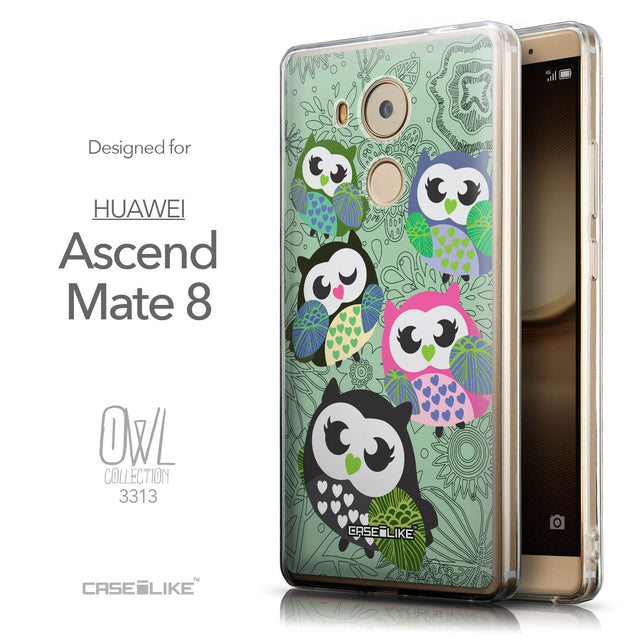 Front & Side View - CASEiLIKE Huawei Mate 8 back cover Owl Graphic Design 3313