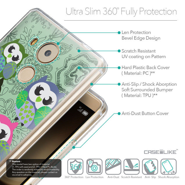 Details in English - CASEiLIKE Huawei Mate 8 back cover Owl Graphic Design 3313