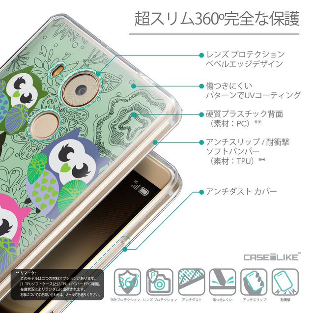 Details in Japanese - CASEiLIKE Huawei Mate 8 back cover Owl Graphic Design 3313