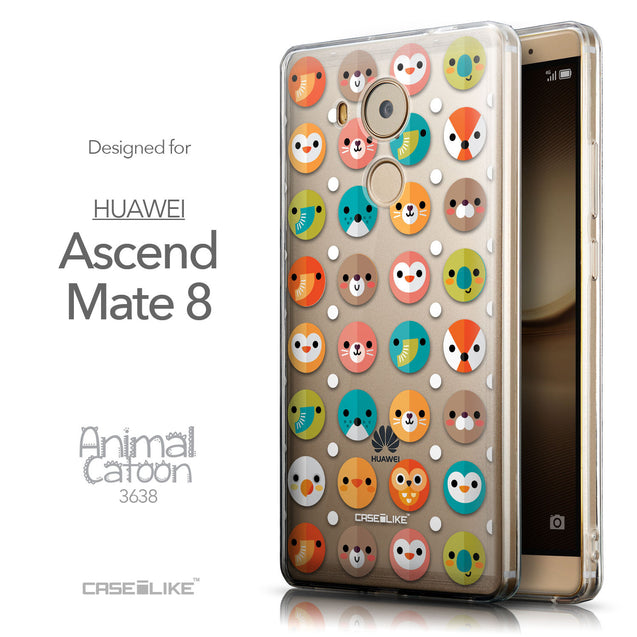 Front & Side View - CASEiLIKE Huawei Mate 8 back cover Animal Cartoon 3638
