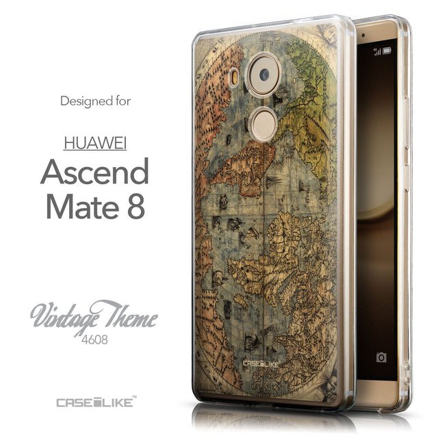 Front & Side View - CASEiLIKE Huawei Mate 8 back cover World Map Vintage 4608