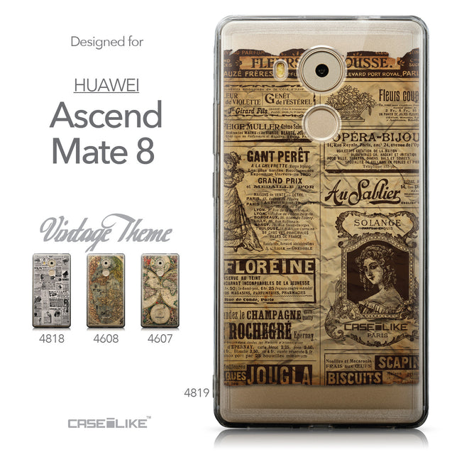 Collection - CASEiLIKE Huawei Mate 8 back cover Vintage Newspaper Advertising 4819