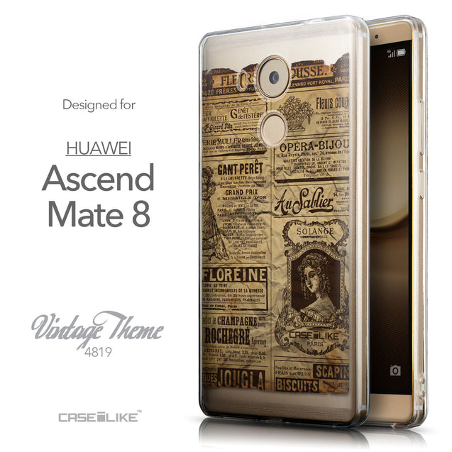 Front & Side View - CASEiLIKE Huawei Mate 8 back cover Vintage Newspaper Advertising 4819