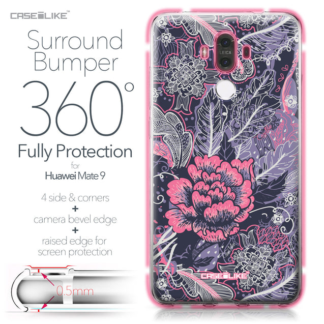 Huawei Mate 9 case Vintage Roses and Feathers Blue 2252 Bumper Case Protection | CASEiLIKE.com