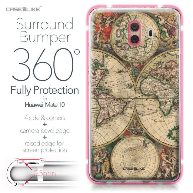 Huawei Mate 10 case World Map Vintage 4607 Bumper Case Protection | CASEiLIKE.com