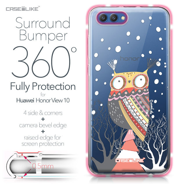 Huawei Honor View 10 case Owl Graphic Design 3317 Bumper Case Protection | CASEiLIKE.com