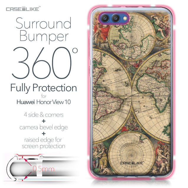 Huawei Honor View 10 case World Map Vintage 4607 Bumper Case Protection | CASEiLIKE.com
