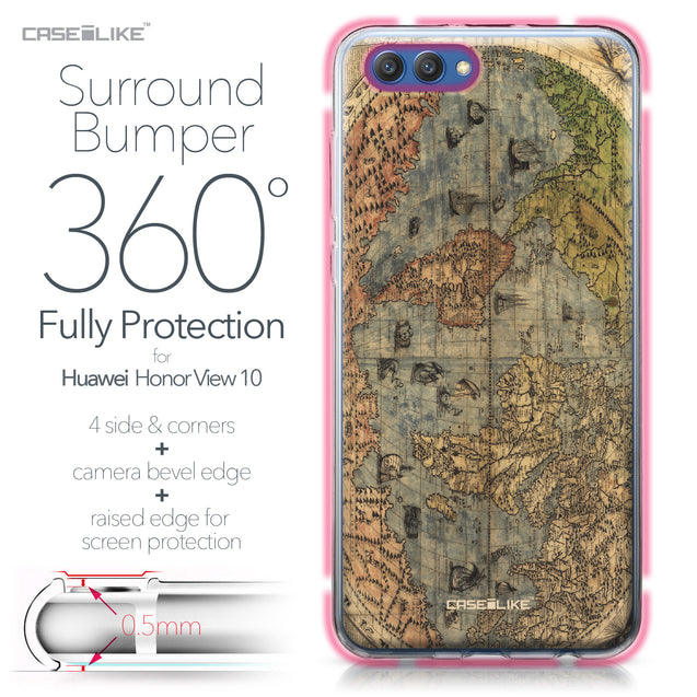 Huawei Honor View 10 case World Map Vintage 4608 Bumper Case Protection | CASEiLIKE.com