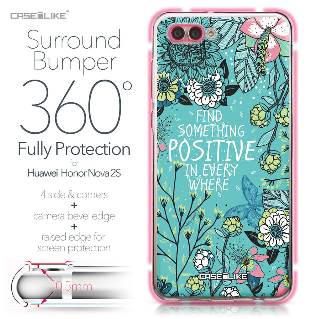 Huawei Nova 2S case Blooming Flowers Turquoise 2249 Bumper Case Protection | CASEiLIKE.com