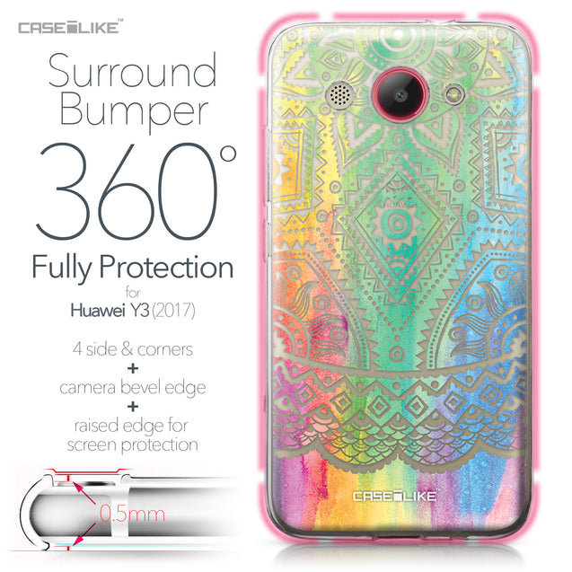 Huawei Y3 2017 case Indian Line Art 2064 Bumper Case Protection | CASEiLIKE.com