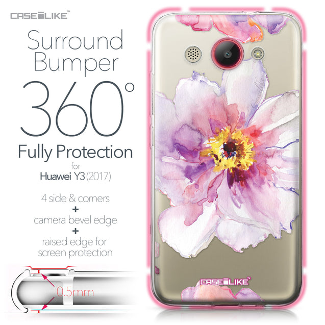Huawei Y3 2017 case Watercolor Floral 2231 Bumper Case Protection | CASEiLIKE.com