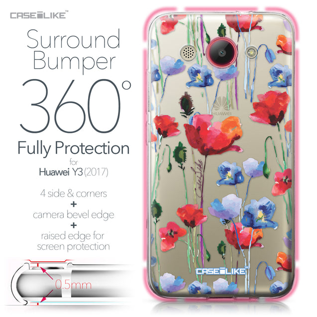 Huawei Y3 2017 case Watercolor Floral 2234 Bumper Case Protection | CASEiLIKE.com