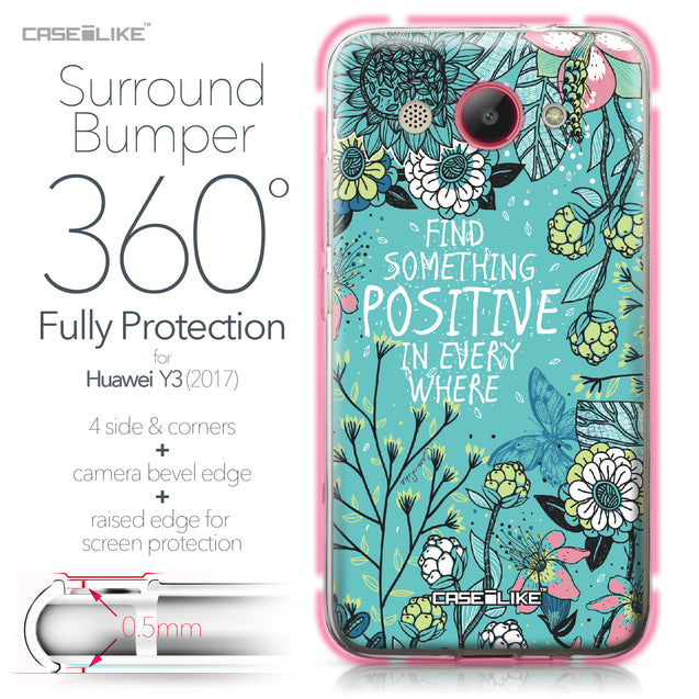 Huawei Y3 2017 case Blooming Flowers Turquoise 2249 Bumper Case Protection | CASEiLIKE.com