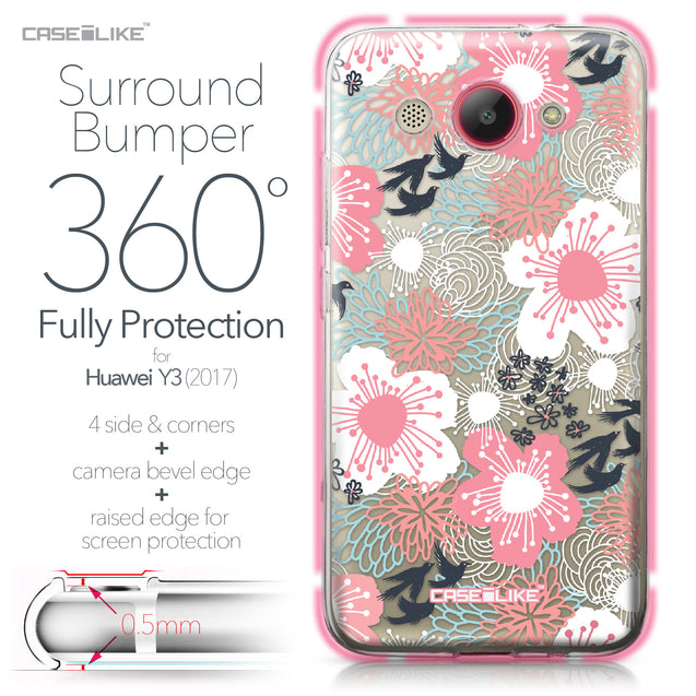 Huawei Y3 2017 case Japanese Floral 2255 Bumper Case Protection | CASEiLIKE.com