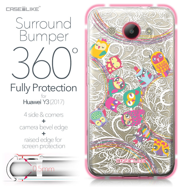 Huawei Y3 2017 case Owl Graphic Design 3316 Bumper Case Protection | CASEiLIKE.com