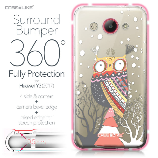 Huawei Y3 2017 case Owl Graphic Design 3317 Bumper Case Protection | CASEiLIKE.com