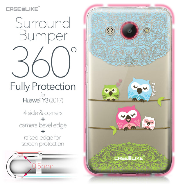 Huawei Y3 2017 case Owl Graphic Design 3318 Bumper Case Protection | CASEiLIKE.com