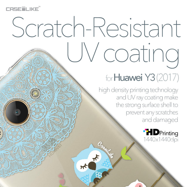 Huawei Y3 2017 case Owl Graphic Design 3318 with UV-Coating Scratch-Resistant Case | CASEiLIKE.com