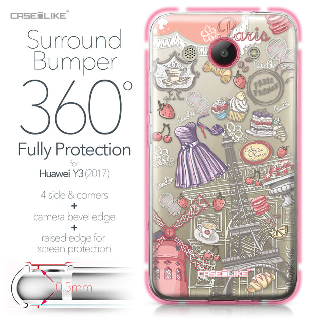 Huawei Y3 2017 case Paris Holiday 3907 Bumper Case Protection | CASEiLIKE.com