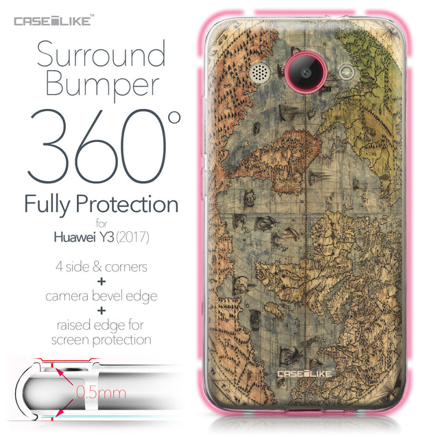 Huawei Y3 2017 case World Map Vintage 4608 Bumper Case Protection | CASEiLIKE.com