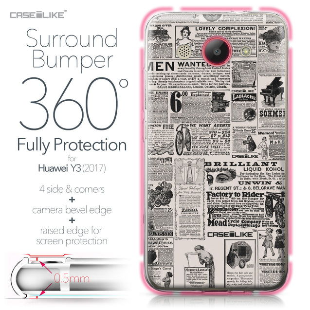 Huawei Y3 2017 case Vintage Newspaper Advertising 4818 Bumper Case Protection | CASEiLIKE.com