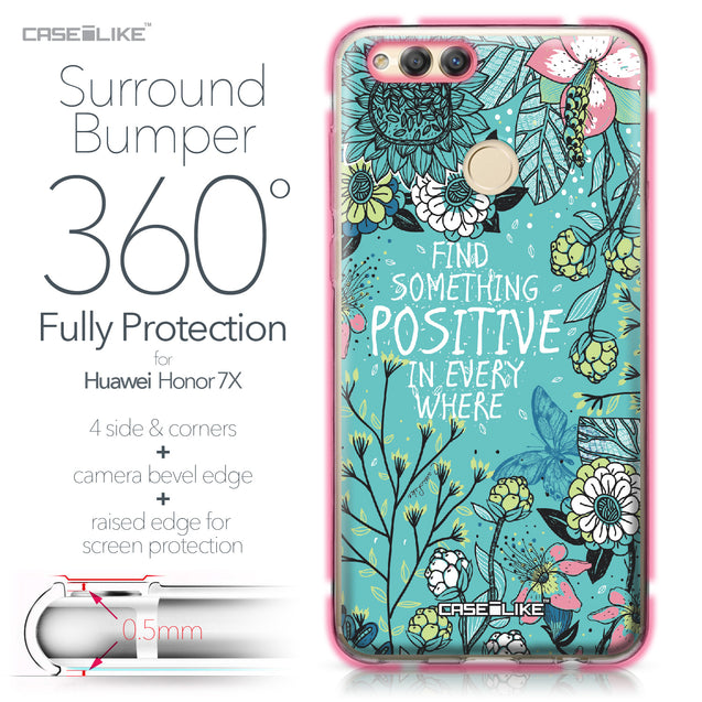 Huawei Honor 7X case Blooming Flowers Turquoise 2249 Bumper Case Protection | CASEiLIKE.com