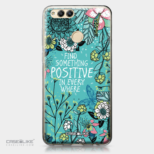 Huawei Honor 7X case Blooming Flowers Turquoise 2249 | CASEiLIKE.com