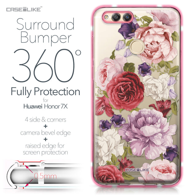 Huawei Honor 7X case Mixed Roses 2259 Bumper Case Protection | CASEiLIKE.com