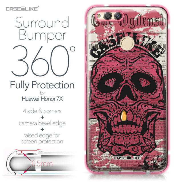Huawei Honor 7X case Art of Skull 2523 Bumper Case Protection | CASEiLIKE.com