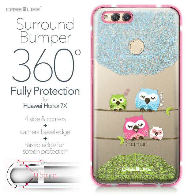 Huawei Honor 7X case Owl Graphic Design 3318 Bumper Case Protection | CASEiLIKE.com