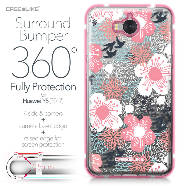 Huawei Y5 2017 case Japanese Floral 2255 Bumper Case Protection | CASEiLIKE.com