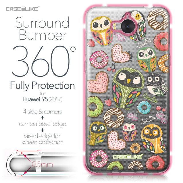 Huawei Y5 2017 case Owl Graphic Design 3315 Bumper Case Protection | CASEiLIKE.com