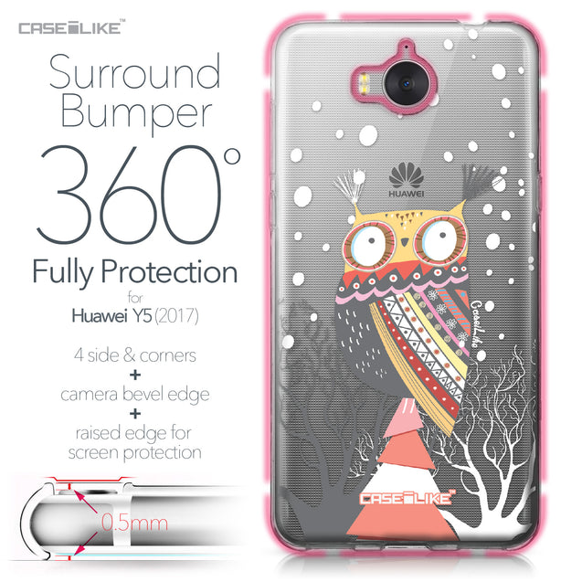 Huawei Y5 2017 case Owl Graphic Design 3317 Bumper Case Protection | CASEiLIKE.com