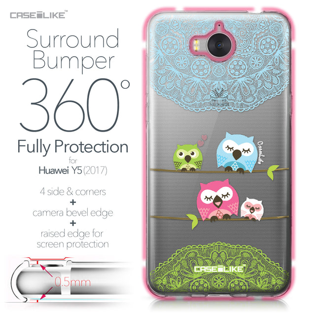 Huawei Y5 2017 case Owl Graphic Design 3318 Bumper Case Protection | CASEiLIKE.com