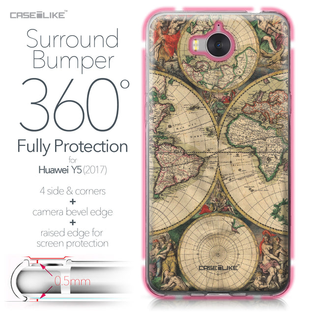 Huawei Y5 2017 case World Map Vintage 4607 Bumper Case Protection | CASEiLIKE.com