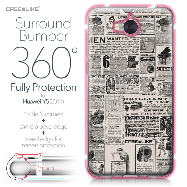Huawei Y5 2017 case Vintage Newspaper Advertising 4818 Bumper Case Protection | CASEiLIKE.com