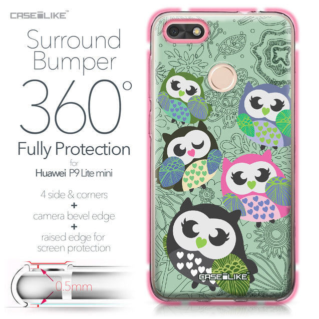 Huawei P9 Lite mini case Owl Graphic Design 3313 Bumper Case Protection | CASEiLIKE.com