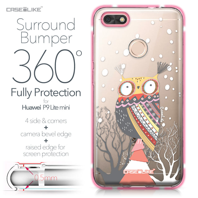 Huawei P9 Lite mini case Owl Graphic Design 3317 Bumper Case Protection | CASEiLIKE.com